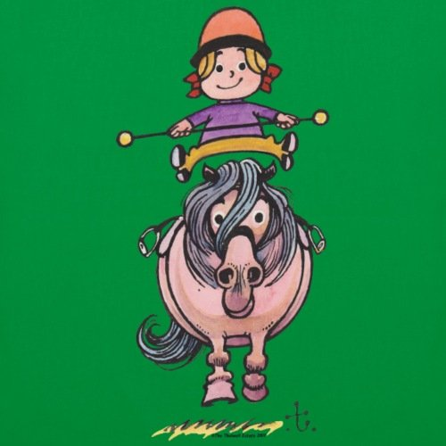 Spreadshirt Thelwell Rider Equilibri Sul Sacchetto Di Stoffa Pony Kelly Green