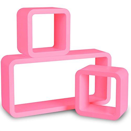 WOLTU 9225 Wandregal Cube Regal 3er Set Bücherregal Regalsysteme, Retro Hängeregal Würfel, Rosa