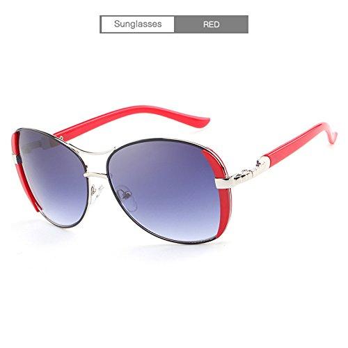 Baianf Luxusmarke Frauen Sonnenbrille Für Weibliche Neue Elegante Gläser Anteojos De Sol Mujer Sonnenbrille (Color : Red)