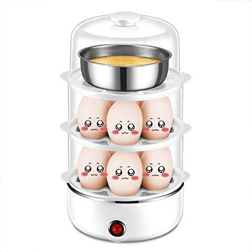 MWPO Eierkocher Eierkocher automatische Abschaltung kleine gekochte Eiersuppe Artefakt Frühstücksmaschine (Größe: groß + weiß)