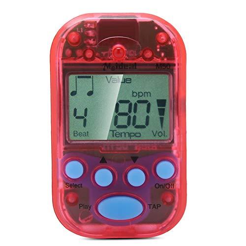 Mini Metronom, LCD Digital M50 Metronom Tragbares Clip-On Beat Tempo Metronom für Klavier, Violine, Gitarre, Trap Drum(Rot)