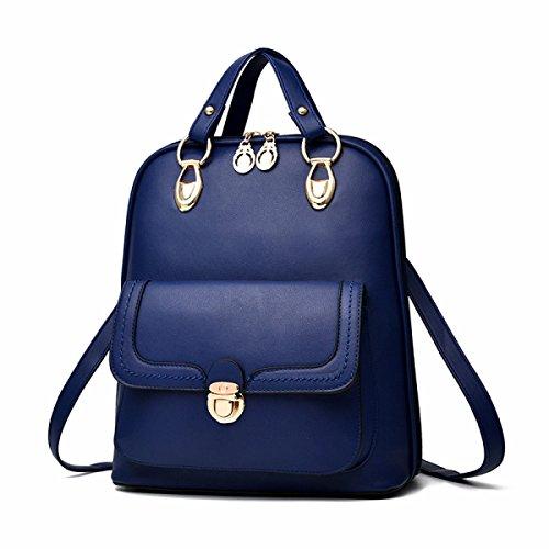 BUKUANG Bag Primavera E L'autunno Spalla PU Stile Europeo E Americano Zainetto,Pink Blue