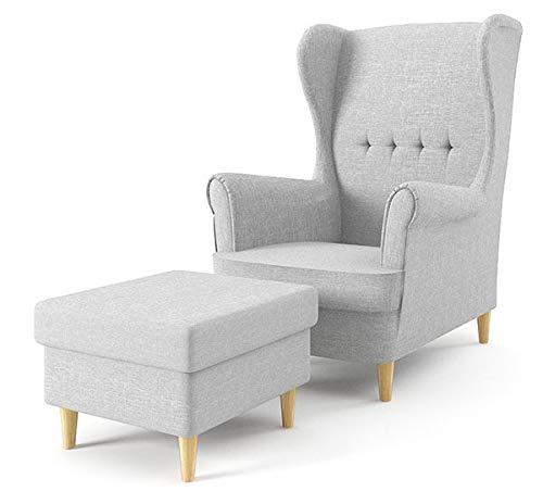 Ohrensessel mit Hocker Hell Grau Wohnzimmersessel skandinavisch gepolstert Relax Sessel