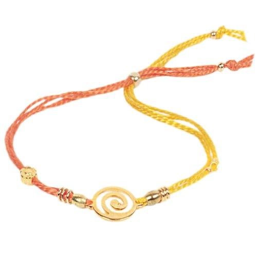 anisch de la Cara de l'énergie Bracelet Femme Spirale de la vie de vie de d o de soie orange/jaune, IA/spirale jaune