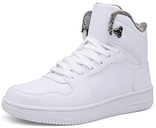 Gaatpot Herren Damen Winterschuhe Schneestiefel Winter Hohe Sneakers Warm gefütterte Leder Schnür Stiefel Boots Schuhe Weiß 42
