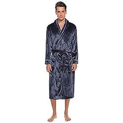 Aibrou Pyjama Homme Polaire Robe Peignoir Pas Cher personnalisé Robe Chambre Homme Longue Hiver Gris EU52-54