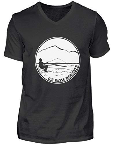 (Ich Hasse Menschen Angeln Fischen Geschenk - Herren V-Neck Shirt -S-Schwarz)