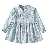 Kobay Kleinkind-Baby-Mädchen-Lange Hülse festes Geraffte Blumenblumen-Bogen-Sommerkleid(M,Hellblau)