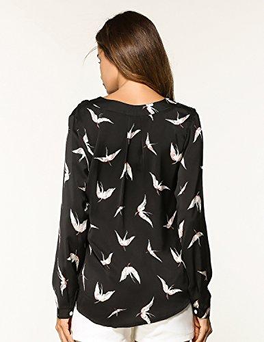 sitengle Damen Chiffonbluse V-Ausschnitt Langarm Bluse mit Vogel Druck Shirt Oberteil Top Schwarz