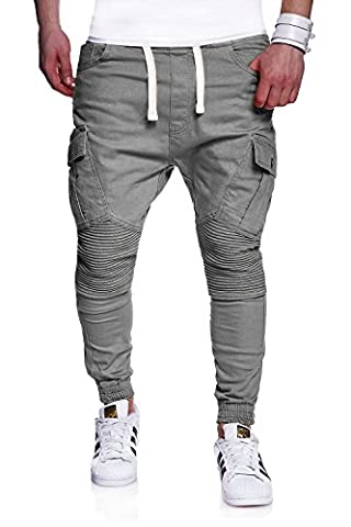 MT Styles Biker Jogging-Jeans Pantalon homme RJ-2276 [gris,