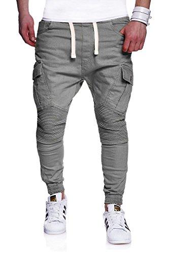 MT Styles Biker Jogg-Jeans Chino Hose RJ-2276 [Grau, W34]