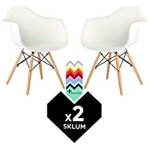 SKLUM SILLA IMS DSW (Pack 2) - SILLÓN DAW TOWER WOOD Blanco Madera Natural- (Elige Color)