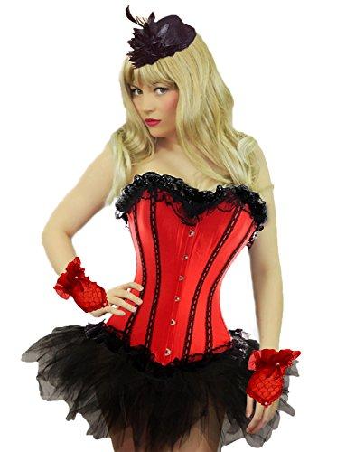 Yummy Bee - Burleske Verstärktes Korsett mit Tutu Rock Karneval Fasching Kostüm Damen Größe 34 - 56 ( 34-36, Rot)