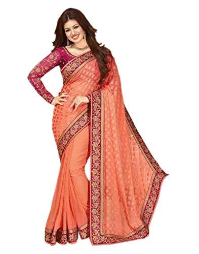 Shree Sanskruti Brasso Saree (Ayeshawork-Orangered_Orenge And Red)