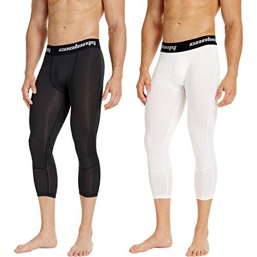 COOLOMG Herren Jugend Leggings Compression Tights Fitness Trainingshose 3/4 (2 Stück) Schwarz +Weiß S