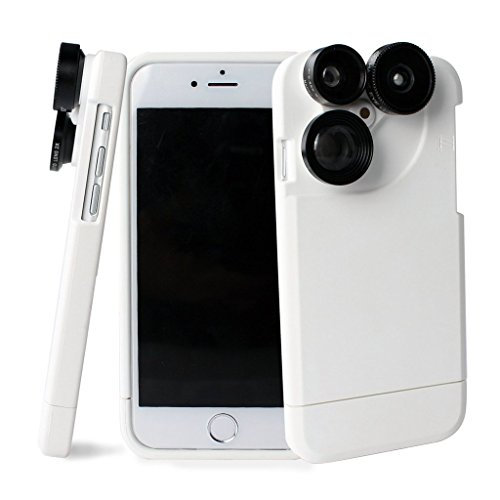 iPhone 7 Camera Lens Kit,4 in 1 Lens Kit,Fisheye Wide Angle Camera Lens with 4.7 Inches Dustproof Shockproof Hard PC Case For iPhone 7(Black) White