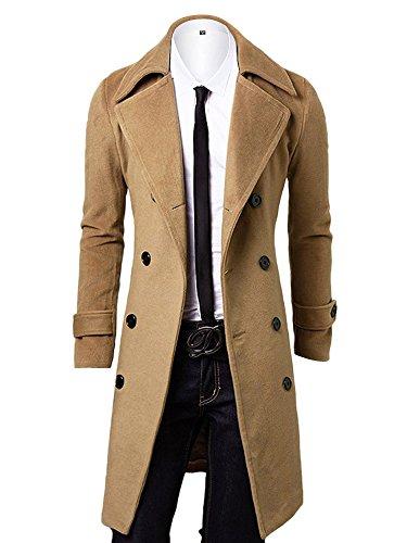 OCHENTA invernale da uomo cappotto giacca invernale doppia Airone Cappotto di Lana Caldo cachi Medium