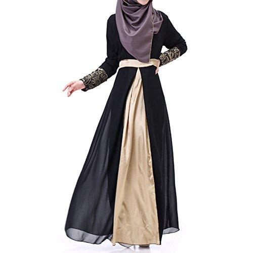 Highdas Frauen Muslim Langarm Kaftan Abaya Kleid Mittleren Osten Chiffon Splice islamische Kleidung Schwarz