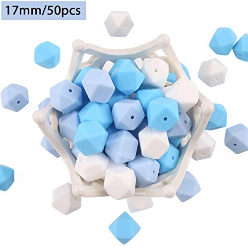 baby tete 50pcs 17mm Perles de Dentition en Silicone DIY Blue Sky Hexagone Chewing Beads Collier D'allaitement Bracelets Accessoires