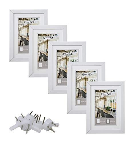 Close Up Bilderrahmen-Set 5 STK. 13x18 cm weiß Premium MDF-Rahmen, bruchsichere Plexiglas-Scheibe mit Passepartout, Collage