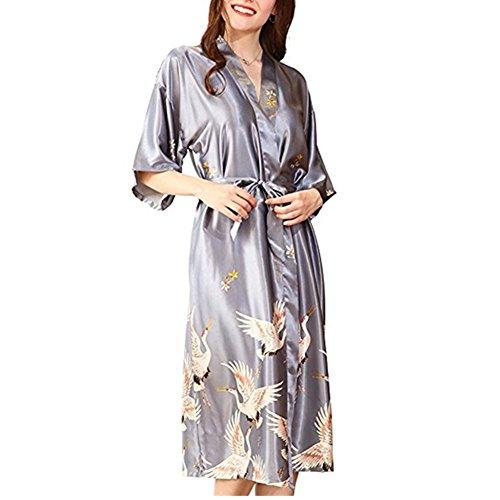 (Morbuy Damen Morgenmantel Kimono Satin Kurz Nachtwäsche Bademantel Robe Schlafanzug mit Vogel und Luxuriös V Ausschnitt mit Gürtel Nachthemd Negligee Nachtwäsche Pyjama (M, Grau))