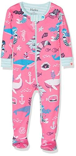 Hatley Baby-Mädchen Schlafstrampler 100% Organic Cotton Footed Sleepsuit, Pink (Sweet Mermaid), 74