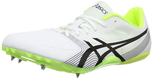 ASICS Hypersprint 6, Scarpe da Atletica Leggera Unisex-Adulto, Bianco (White/Black/Safety Yellow 0190), 42.5 EU