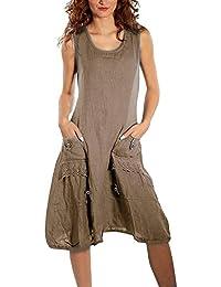 Yidarton Femme Robe été sans Manche à Bretelle Casual Lin Vintage Top  Tunique Longue 833a39ffb22e