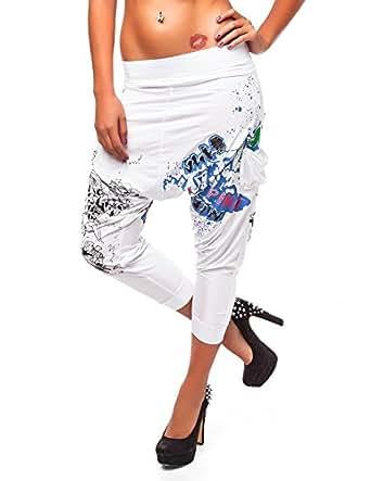 24brands CHICK REBELLE - Trendige Damen Pluderhose Haremshose Tanzhose - 1374, Größe:S;Farbe:Weiss