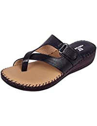 Footshez Women's Black Latest and Classy Doctor Sole Comfortable, Soft and Light Weight Flat Sandles