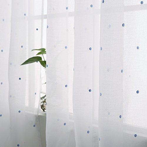 Deconovo tende voile ricamate pois pattern tende trasparenti con occhielli per bambini 140 x 290 cm celeste 2 pannelli