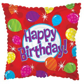 Suki Gifts S9414382 Ballons multicolores Happy Birthday Ballons gonflables en forme d'hélium Rouge