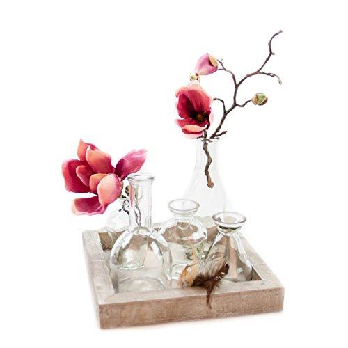 10. Glaskönig Vasen Set, Glasvasen Set Auf Einem Holzbrett. Dekorations Set  Als Tischdekoration Mit 5 Glasflaschen. Kleine Glasvasen Zur Dekoration