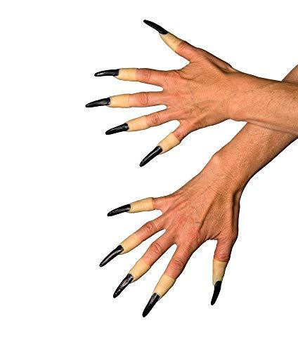 shoperama 10 Fingernägel Schwarz zum Aufstecken Nägel Hexe Hexer Accessoire Kostüm-Zubehör Hexenfinger Krallen