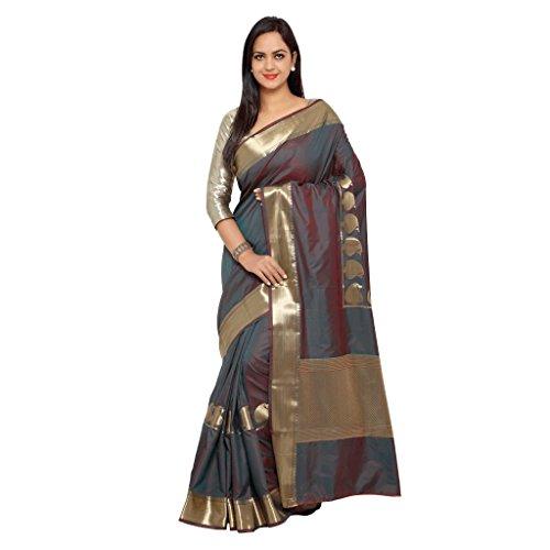 Varkala Silk Sarees Women's Art Silk Paithani Saree With Blouse Piece(JB5007RMRD_Brown_Free Size)