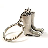 Garden Wellies Wellington Boots Keyring Handcrafted From English Pewter Key Ring in gift pouch By NWFlags