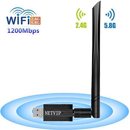 NETVIP WiFi Adapter 1200Mbit/s Dualband (5.8GHz/867Mbps, 2.4Ghz/300Mbps) WLAN Stick mit 5dBi Antenna Wireless WiFi Dongle USB 3.0 für PC Windows XP/Vista/7/8/10 Mac OS (Signal-gerät)