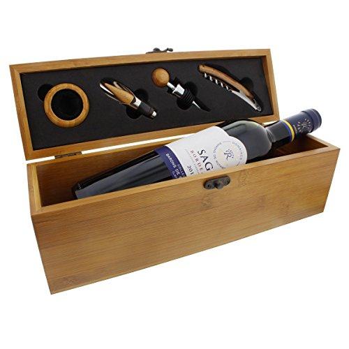 Sommelier-Set Rothschild in Bambus-Optik mit Personalisierung - 1 Flasche Französischer Rotwein mit Zubehör und Gravur als edles Geschenk für Wein-Liebhaber