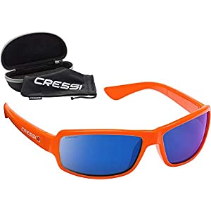 Cressi Men's Sunglasses Available in Floating and in Ultra Flexible Version, Orange/Mirror Lenses Blue, One Size