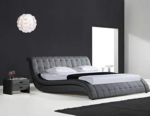 SAM Polsterbett Queens, 200x200 cm, Grau, Kunstleder, abgesteppten Design, Stilvolle Chrom-Füße, pflegeleichtes Gästebett