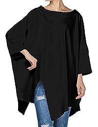Mujer blusa otoño,Sonnena ❤️ Blusa sólida de manga larga otoñal de mujer Asimetría Suelto Pullover Shirt Blusa Tops