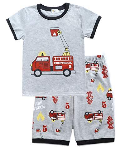 Little Hand Schlafanzug Jungen Dinosaurier Bagger Feuerwehrauto Krake Kinder Sommer Zweiteiliger Baumwolle Kurz Nachtwäsche, Feuerwehrauto, 104 (HerstellerGröße: 110) (Jungen Schlafanzug Für Urlaub)