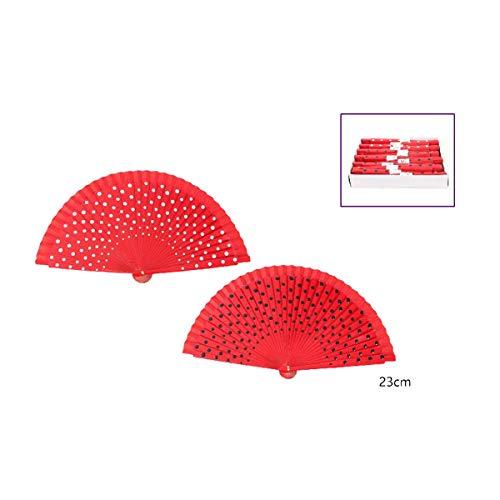 Cisne 2013, S.L. Pack de 2 abanicos Rojos de Tela y Madera con diseño Lunares Blancos y Negros. Abanicos Flamenco Rojo con Lunares. Tamaño 23cm