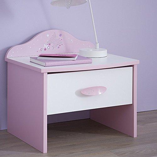 Nachtkommode Ava rosa / weiß Mädchen Kinderzimmer Jugendzimmer Nachttisch Nachtkonsole Nachtschrank Nachtkästchen Nako