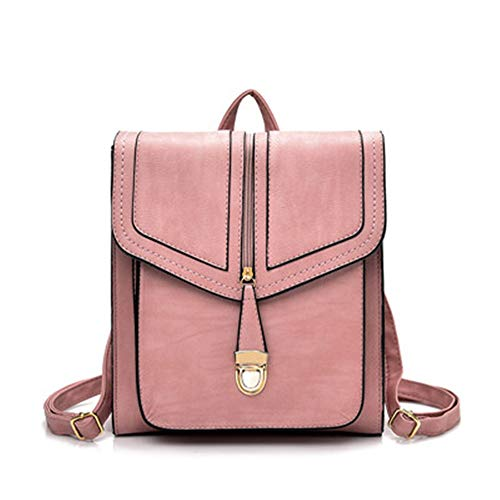 Backpack New Soft Leather Women Casual Small Packet Preppy Style Girls Rucksacks Female Shopping Bags Ladies Backpacks,Pink