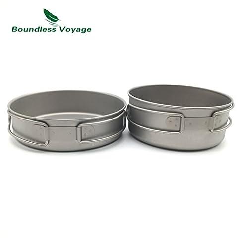 Outdoor Ultralight Titanium Foldable Pot Set Titanium Cooking Pot Camping Pan With Folding Handle (500ML+600ML)