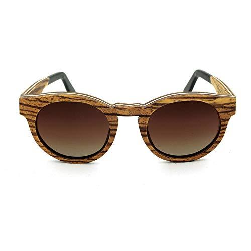 Hochwertige Vintage holzrahmen Sonnenbrille, polarisator objektiv Sonnenbrille Brille (Farbe : Brown Gradient)