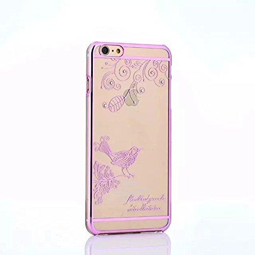 Clear Coque pour iPhone 5/5S/5C/SE, newstars PC Coque pour Iphone 5/5s/5C/SE, oiseau papillon creux plaqué Bling Strass Diamant Transparent Coque Pare-chocs de Protection Transparent pour iPhone 5/5 Argent�?papillon