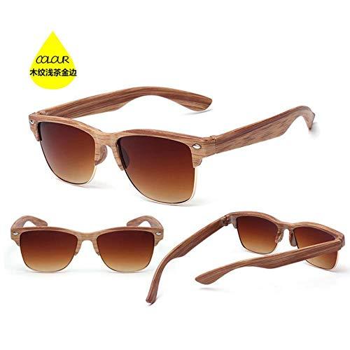 CRAVEN Holz Sonnenbrille für Frauen Männer Auti-UV semi randlose Sonnenbrille Eyewear Sonnenbrille mit halber Fassung Gafas De Sol, hellem Tee Gold