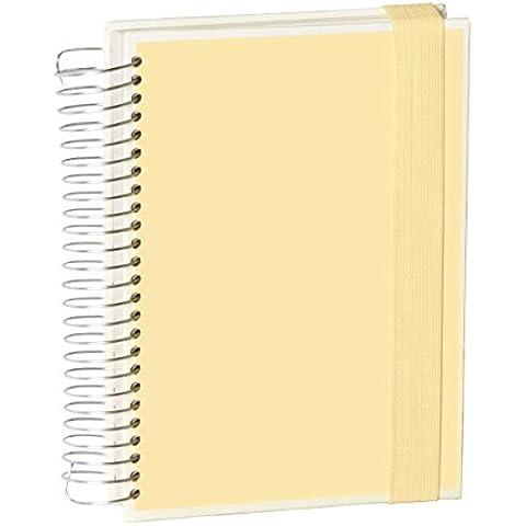 Mucho Libro de espiral A5, blanco crema +++ 165 hojas papel beige (blanco/cuadros/rayas) +++ Libreta de NOTAS y APUNTES con estilo +++ calidad SEMIKOLON